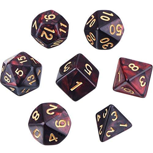 Polyedrische 7- Würfel- Set für Dungeons und Dragons mit Schwarz Beutel (Rot Schwarz)