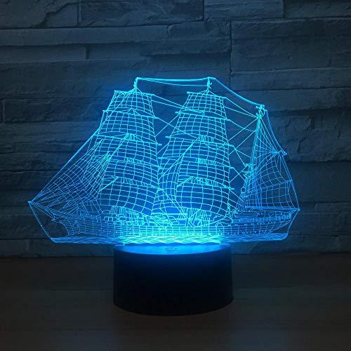Luz nocturna 3D con diseño de barco de vela, LED 3D, luz nocturna ajustable, 7 colores, cable USB, interruptor táctil, lámpara de escritorio, lámpara de mesa, regalo para niños