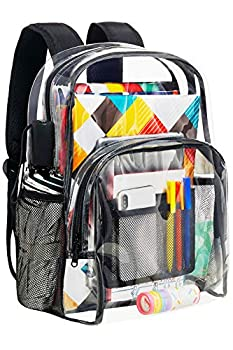 Vorspack Clear Backpack Heavy Duty PVC Transparent Backpack with Reinforced Strap Stitches & Large Capacity for College Workplace Security - Black