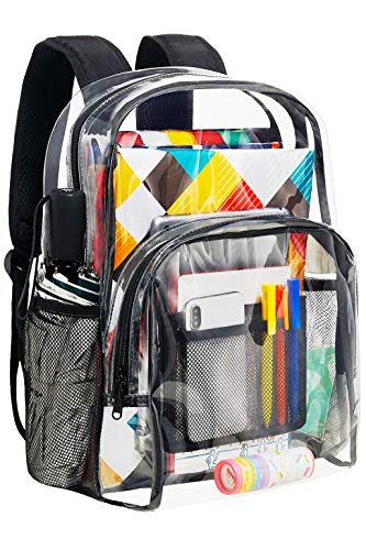 Vorspack Clear Backpack Heavy Duty PVC Transparent School Backpack with Reinforced Strap Stitches & Large Capacity for College Workplace Security - Black