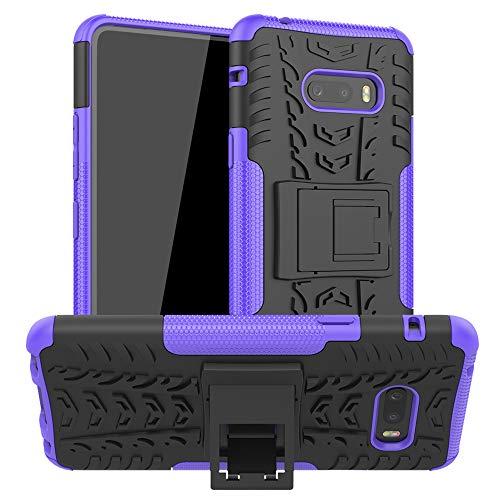 LiuShan Kompatibel mit LG G8X ThinQ Hülle, Dual Layer Hybrid Handyhülle Drop Resistance Handys Schutz Hülle mit Ständer für LG G8X ThinQ/LG V50S ThinQ 5G 2019 Smartphone,Lila