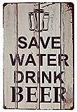 ERLOOD Save Water Drink Beer Tin Signs...