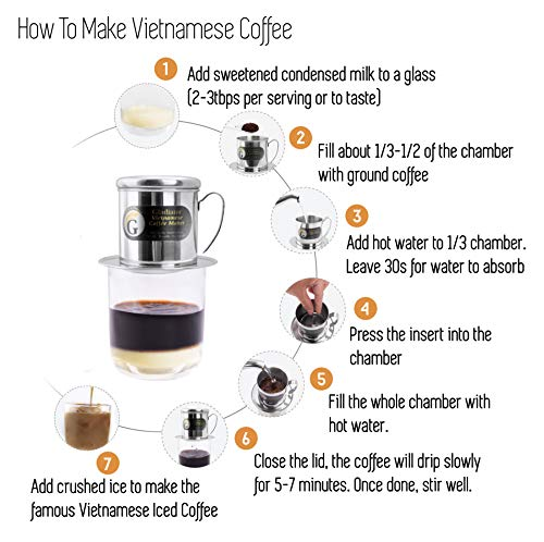 Vietnamese Coffee Maker Filter Phin, Small French Press Portable Cup, Single Serve Coffee Makers, Gift for coffee lovers