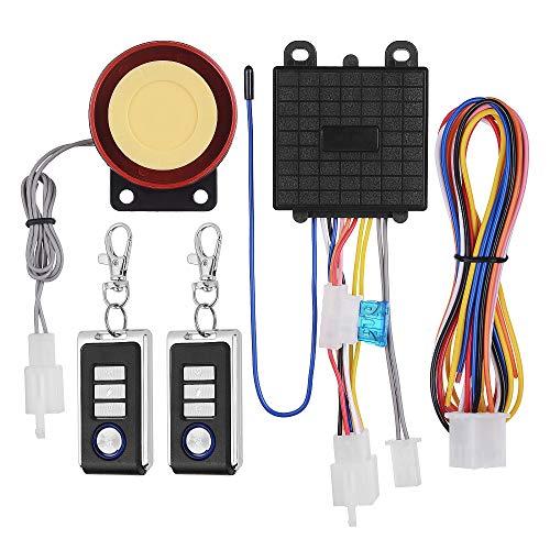 KKmoon Sistema de Alarma antirrobo para Motocicleta, Sistema de Seguridad con Doble Mando a Distancia, 12 V, Universal, Sistema de Alarma antihipocresía