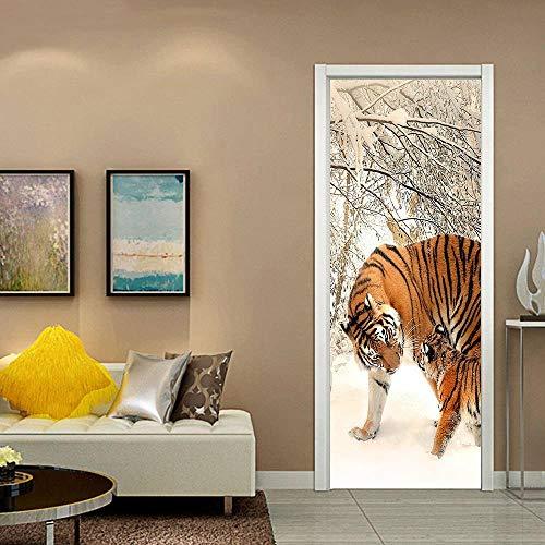 Türaufkleber 3D Wasserdichte PVC Selbstklebende Abnehmbare Art Decals TürPoster für Wandbild Wohnzimmer Schlafzimmer Badezimmer Dekoration 77x200 cm Tiger