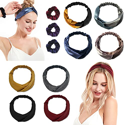 HINRODEN Headbands For Women, Fashion Silk Knotted Elastic Head Bands Spa Yoga Workout Headwraps Cute Vintage Hair Accessories, pack of 11(8 Headbands + 3 Hair Scrunchies)