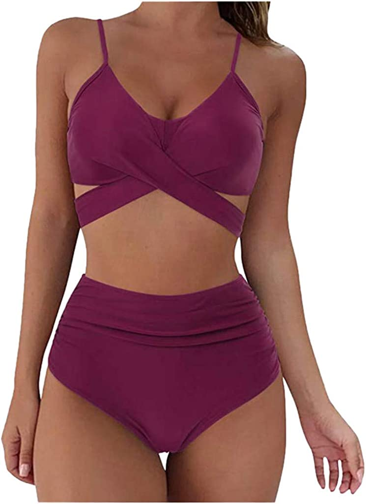 FABIURT Swimsuit for Women,Womens Vintage High Waisted Tummy Control Bikini Swimsuit Padded Push up 2 Piece Bathing Suit