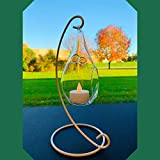 BANBERRY DESIGNS Air Plant Hanging Glass Vase Teardrop Terrarium Together with White Wrought Iron Metal Stand – Planter for DIY Flower and Succulent Plants - 9 Inch High Stand