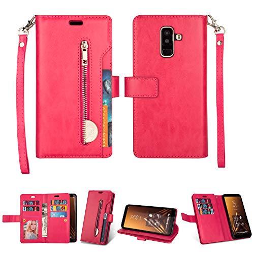 Yobby Reißverschluss Brieftasche Hülle für Samsung Galaxy A6 Plus 2018,Handyhülle Slim Leder Flipcase [9 Kartefach] Magnetisch mit Stand und Handschlaufe Schutzhülle-Rose Rot