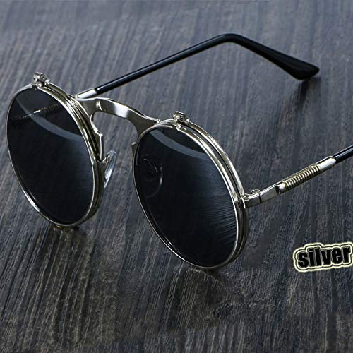 3057 Steampunk Sunglasses Round Metal Women Style Retro Flip Circular Double Metal Sun Glasses Men CIRCLE SUN GLASSES