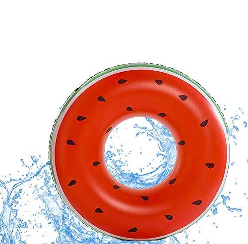 Riesen XXL aufblasbare Wassermelone mit 1x aufblasbaren Getränkehalter für Getränke | Durchmesser 125cm | Schwimmring Donut Schwimmreif für den Pool