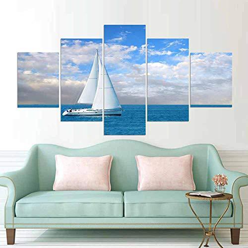 Gxucoa 5 Piezas Lienzo Poster Velero HD Arte De La Pared Impresa Decoración Dormitorio El Hogar Pintura De La Lona Foto