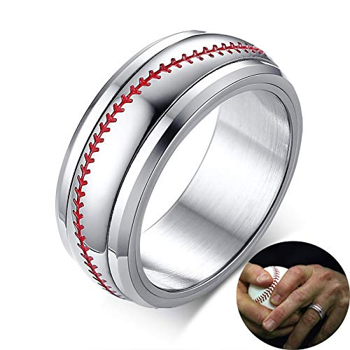 CHCO Tono De Hombre Béisbol Spinner Spinning Ring Costura Roja con Acero Inoxidable Sports Softball Dome Rings Comfort Fit 8Mm 10 Spinner