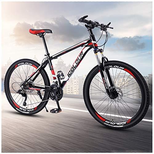 LJJ 26 Inch Mountain Bikes, Men's Dual Disc Brake Hardtail Mountain Bike, High-carbon Steel Frame, Bicycle Adjustable Seat, 24 Inch 21/24/27/30 Speed