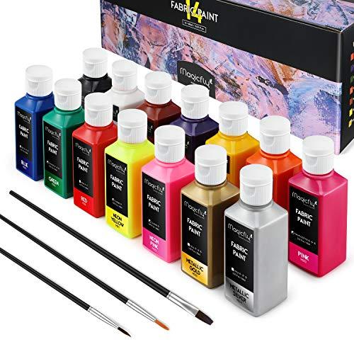 Magicfly Colori per Tessuti Permanenti, Set di 14 Colori Stoffa (60ML) Vernice Pittura per Tessuti Lavabili in Lavatrice e Asciugatrice, Abiti, Magliette, Jeans, Borse, Tela, con 3 Pennelli