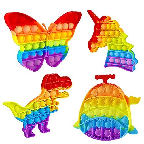 TONGYONG 4 Pcs XXL Pop Halloween Gigante Jumbo Dinosaurio Fidget Toy Pack Grande Unicornio Figetttoys Antistress Toys Set Poppit Juguete Pequeño Antiestres Juego Kit Figet Pulpo Popet Burbujas