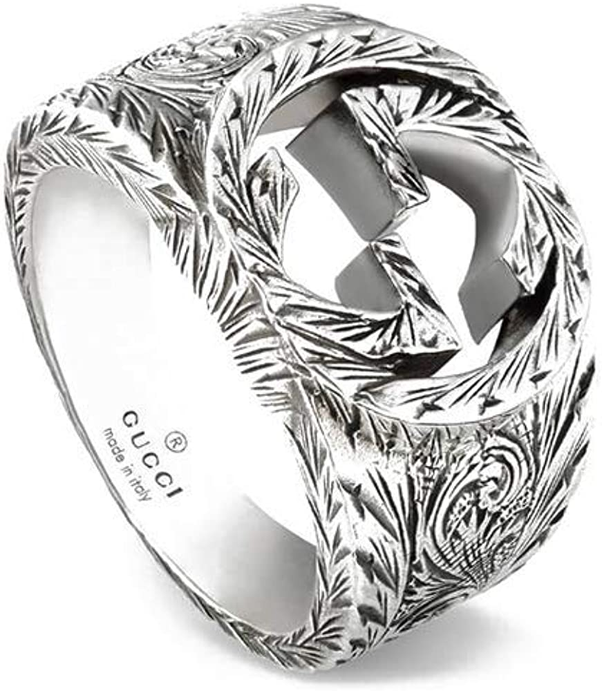 Gucci anello interlocking g argento YBC455302001