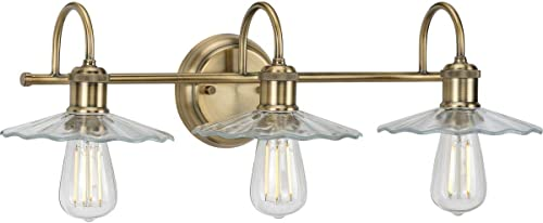 Fayette Collection 3-Light Clear Glass Farmhouse Bath Vanity Light Vintage Brass