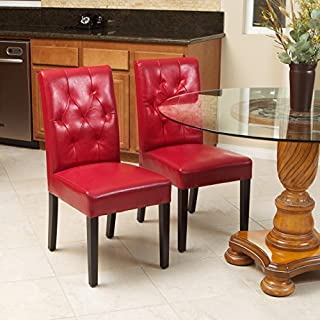 Christopher Knight Home Waldon Red Leather Dining Chairs w/Tufted Backrest (Set of 2)