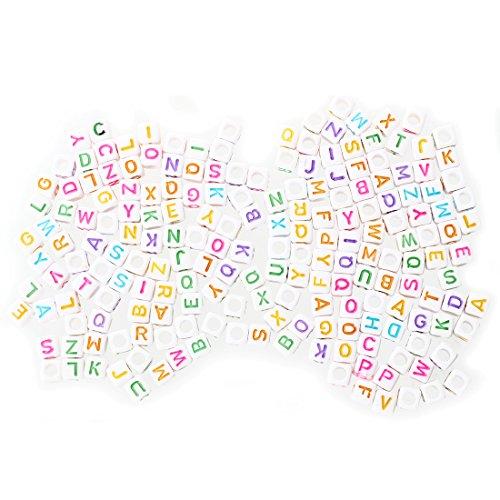 WOVELOT Lot 200 Lettre de l alphabet Plastique Cube Enfilade Perles 0,24