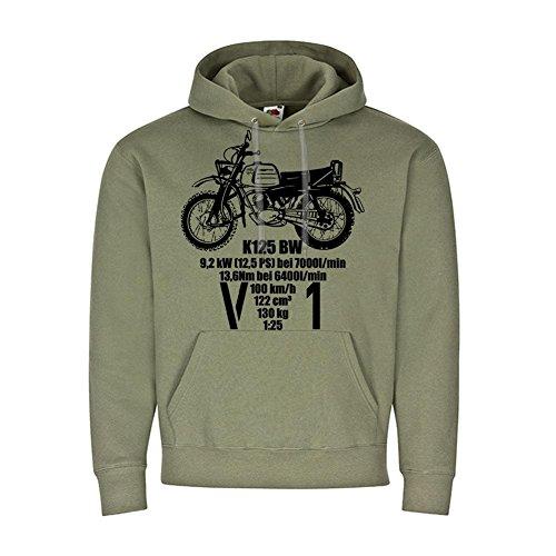 Copytec V1 K125 BW Motorrad BW Version Daten Maschine Oldtimer Bike Militär Feldjäger Kradmelder Hoodie Kapuzenpullover #19592, Größe:L, Farbe:Oliv