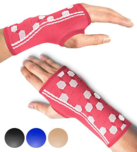Sparthos Wrist Support Sleeves (Pair) - Compression Wrist Brace for Men and Women - Carpal Tunnel Tendonitis Arthritis Pain Relief Recovery from Wrist Pain, Strains, Sprains, Bursitis (Pink-S)