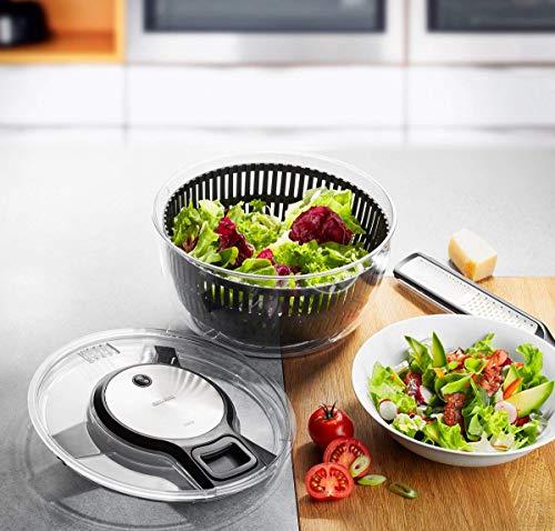 GEFU 28150 - Centrifuga per insalata Speedwing con colino per l'acqua e un'insalatiera, centrifuga delicata