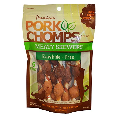 Pork Chomps Premium 6CT Meaty Skewers, Brown