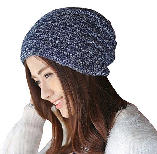 SHINA Unisex Homme Femme Bonnet Tricoté Automne Hiver Chapeau Velours Bonnet épais Nouvelle Vague Mode Fashion Chapeau Chaud Joli (Bleu Marine)