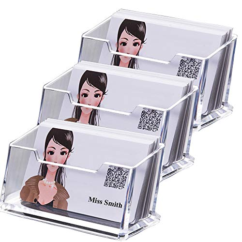 LANSCOERY - Organizador de tarjetas de visita de acrílico transparente para escritorio de oficina 1 Tier 3 Pack