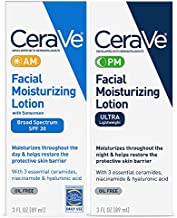 CeraVe Day & Night Face Lotion Skin Care Set   Contains CeraVe AM Face Moisturizer with SPF 30 and CeraVe PM Face Moisturizer   Fragrance Free
