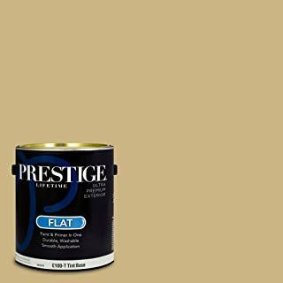 Prestige Paints E100-T-SW6408 Exterior Paint and Primer in One, 1-Gallon, Flat, Comparable Match of Sherwin Williams Wheat Grass, 1 Gallon,