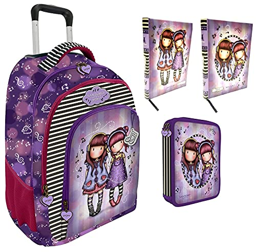 Mochila escolar compatible con Santoro Gorjuss London The Duet El Duetto + estuche 2 pisos + diario + bolígrafo luminoso LED + llavero + 10 bolígrafos de colores