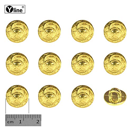 12 oogknoppen, kunststof goudkleurig 13 mm, voor het naaien van oogjes blouses kostuum sieraad knop, 3127-01-6.0