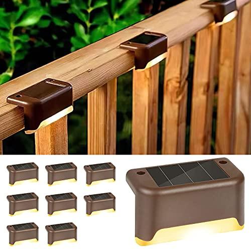 Luces solares para cubierta, exteriores, luz solar LED impermeable para exteriores, patio, escalera, patio, camino y entrada (blanco cálido) 8 unidades