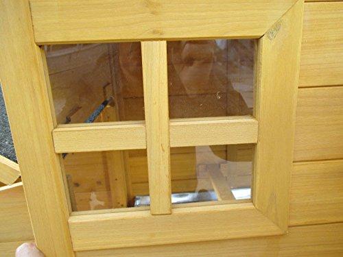dobar 24001FSC Doppelstöckiger Hühnerstall mit Freigehege auf 2 Etagen, fuchssicher mit verstärktem Zinkdraht, FSC-Holz, Zinkwanne, Doppelboden, Plexiglas-Fenster, 173 x 66 x 120 cm - 8