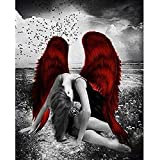 5D Diamond Painting Kit Black Angel with Red Wings Canvas Wall Art Full Drill Diamond Embroidery Painting DIY Embroidery Cross Stitch Painting for Home Wall Decor 50X70Cm Painting by Number Kits