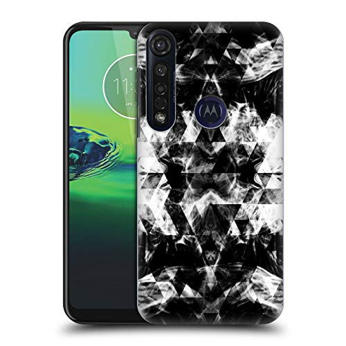 Officiële PLdesign Zwart en Wit Roken Driehoeken Hard Back Case Compatibel voor Motorola Moto G8 Plus