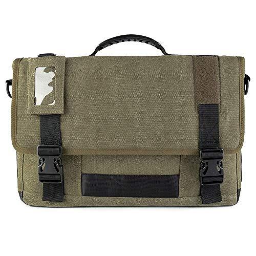 FAGavin Multifunction Canvas Messenger Laptop Bag Crossbody Shoulder Business Briefcase Tablet Bag Hand Bag Vacation (Color : Army Green)