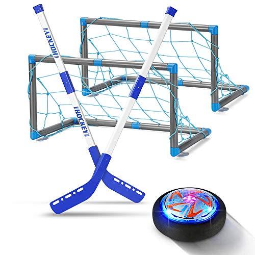Geyueya Kinder-Hockey-Set, LED-Hockey-Set, tragbar, für drinnen und draußen, Luftstrom, Fußball, Schwebeball, Geschenk, Training, Sportspielzeug