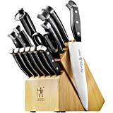 J.A. Henckels International Statement Kitchen Knife Set with Block, 15-pc, Chef Knife, Steak Knife set, Kitchen Knife Sharpener, Light Brown
