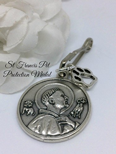 St Francis Pet Protection Medal Collar Tag With Paw Charm