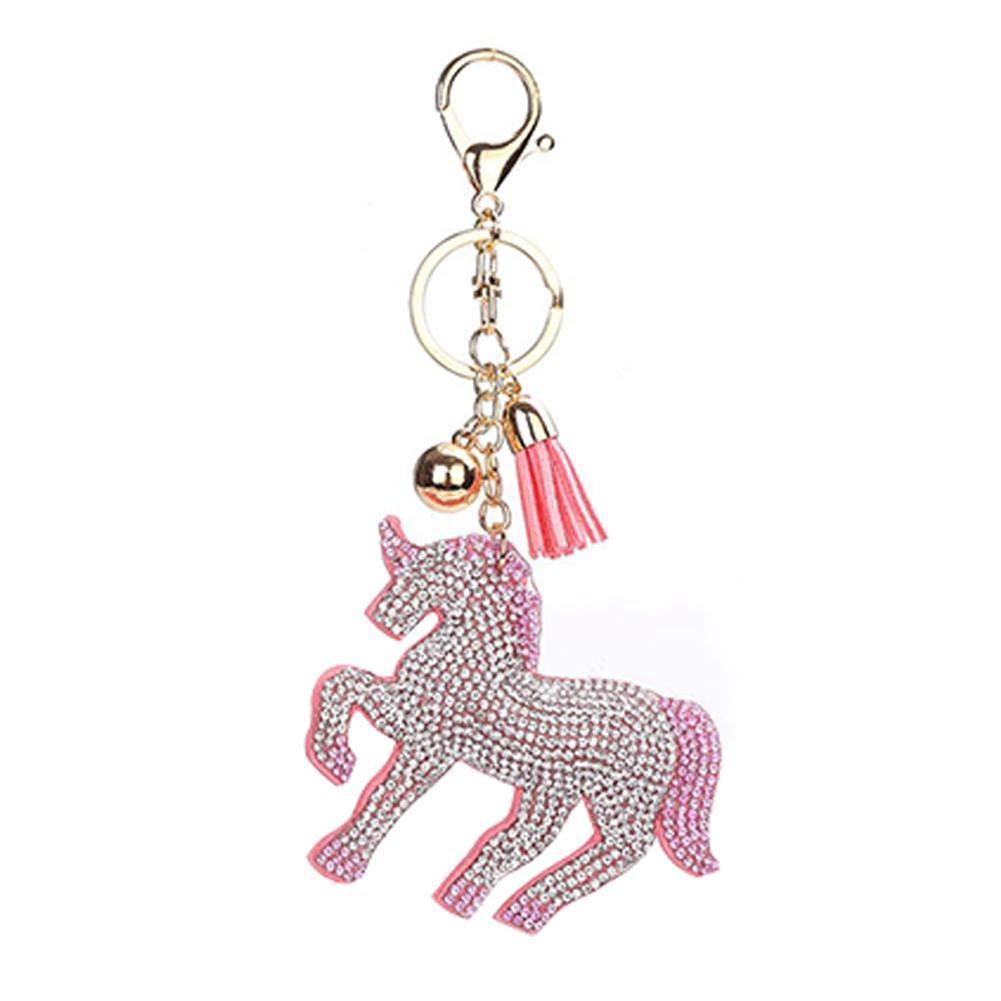 Rhinestone Unicorn Pendant Snap Hook Alloy Bag Decoration Keyring Keyring Keyring Women Girls (White Pink)