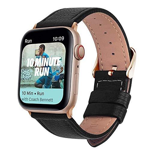 HMXA Correa De Reloj De Cuero De 3 Colores for Apple Watch Band Series 5/3/2/1 Correa Deportiva 42mm 38mm Correa for Iwatch 4 Band (Band Color : Black Rose Gold, Band Width : 40mm)
