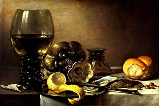 OYSTER BREAKFAST 1633 SHELLFISH PEPPER LEMON WINE STILL LIFE PAINTING BY PIETER CLAESZ LARGE REPRO ON CANVAS