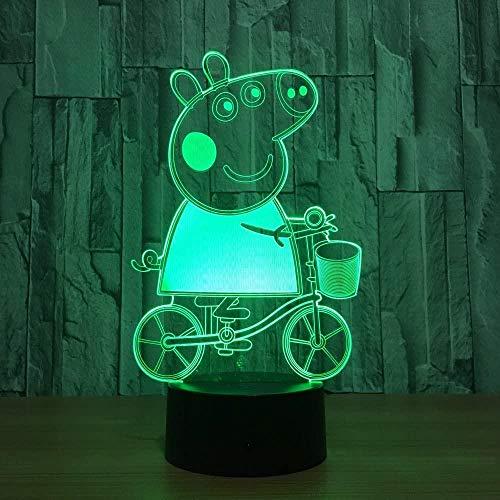 3D Symphony Light LED Night Light Animación Little Pig Peppa 7-color Remote Touch USB Table Baby Sleep Night Light Luz acrílica