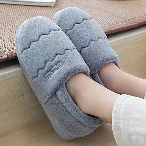 Zapatillas Casa Hombre Mujer Invierno Zapatillas De Felpa para Mujer, Zapatillas De Lana De Coral para Mujer, Zapatillas De Casa con Patrón De Ondas, Suaves, Cómodas, Antideslizantes, Zapatos De