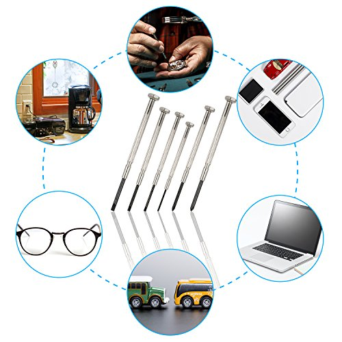 6Pcs Precision Screwdriver Set, Eyeglass Repair Screwdriver, Mini Repair Tool Kit with 6 Different Sizes Flathead and Philips Screwdrivers, Ideal for Watch, Jewelry, Electronics Repair and More