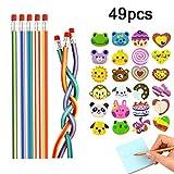 25 Piezas de lápices Flexibles Flexibles Suaves y Suaves, 24 Piezas de Goma de borrar Smiley Emoji, Juguetes, Equipos estacionarios Escolares, Suministros de Regalos para Fiestas de cumpleaños (49pcs)