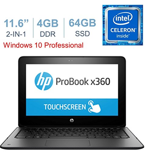 Newest HP Education Edition X360 ProBook 2-in-1 Convertible 11.6' Touchscreen Laptop PC, Intel Dual-Core Celeron Processor, 4GB RAM, 64GB eMMc, HDMI, Bluetooth, Webcam, WiFi, Windows 10 Pro